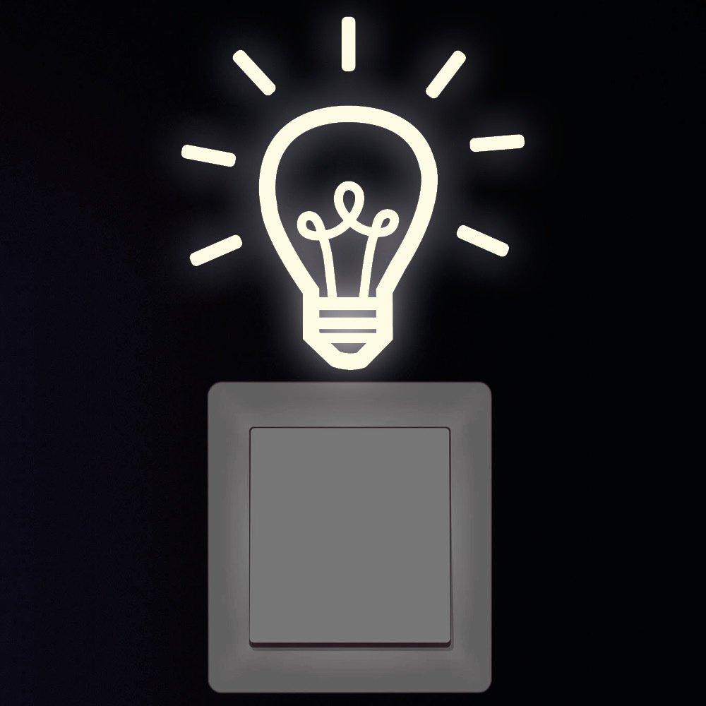 """Wandtattoo Loft """"Fluoreszierende Glühbirne II für Lichtschalter"""" Leuchtaufkleber / Lichtschalter / Leuchtet in der Nacht Wandtattoo-Loft.de"""
