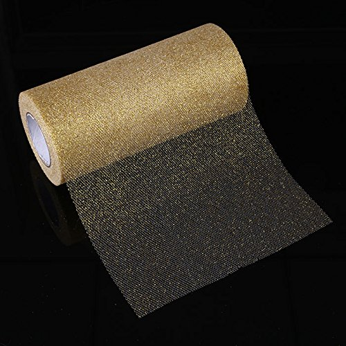 (TOPmountain Shimmering Powder Tulle Roll 1 pcs Sparkling Tulle Ribbon Roll Glitter Tulle for Party Wedding Decor Gold)