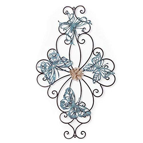 (Adeco Flower and Butterfly Urban Design Metal Wall Decor for Nature Home Art Decoration & Kitchen Gifts - 26.5x15.5 Inches)