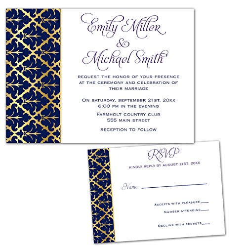 250 Wedding Invitations Gold Navy Blue Damask Design + Envelopes + Response Cards Set (White Invitations Damask Kit)