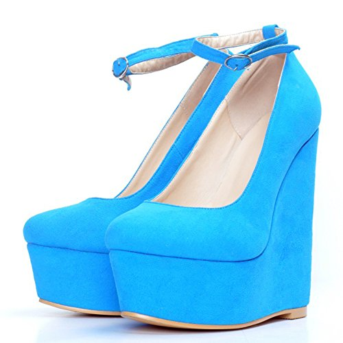 Heel Closed Suede Shoes Bridal Buckle Toe Women's Pumps Kolnoo Court Wedge Blue Party Yw5aqxC