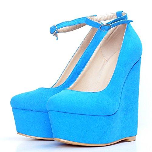 Femme Slippers Bleu top Hi Kolnoo TYqt1pw
