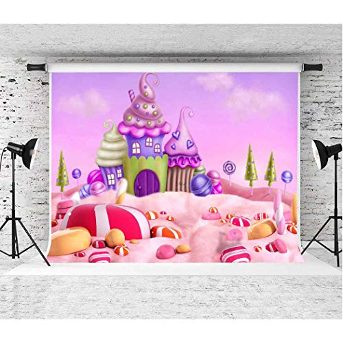 (Candyland Backdrop EARVO 10x7ft Fairytale Candy Ice Cream Sweets Photography Background Dessert Table Party Supplies Kids Birthday Party Cotton Backdrop Photo Booth Props EAGE122)