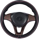 Mayco Bell Microfiber Leather Car Large Steering wheel Cover (15.25''-16'', Black Pink)