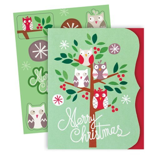 The Gift Wrap Company Small Boxed Holiday Cards with Seals, Owliday Quartette - Holiday Card Seals