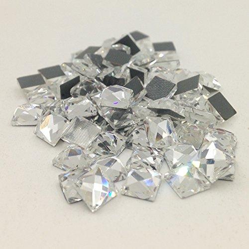 New 100 Piece/Lot Square Strass Stones Rhinestones Diamond Sewing Beads For Wedding Dress Nail Art Not Hot Fix 6MM