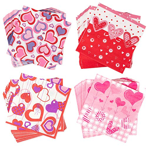 Whaline Valentine's Day Napkins Beverage Luncheon Napkins 2 Ply for Anniversary, Wedding, Luncheons, Dinners and Celebrations, 80 Pack -