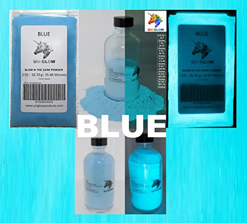 Blue Glow in the Dark Pigment Powder (NOT-ENCAPSULATED)(0.5 Oz / 14.18 Grams, Blue) LONGEST LASTING GLOW IN THE DARK POWDER. RECOMMENDED FOR ALL COLORLESS MEDIUM. INK. PAINT. PLASTIC RESIN. GLASS.etc