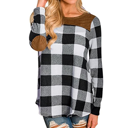 Patchwork Pullover for Women, Franterd Ladies Long Sleeve Plaid Shirt Tops Blouse (Black, 2XL)
