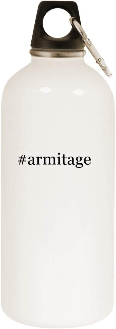 #armitage - 20oz Hashtag Stainless Steel White Water Bottle with Carabiner, White