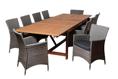 Amazonia Oakwood 11-Piece Eucalyptus/Wicker Extendable Rectangular Dining Set with Grey Cushions