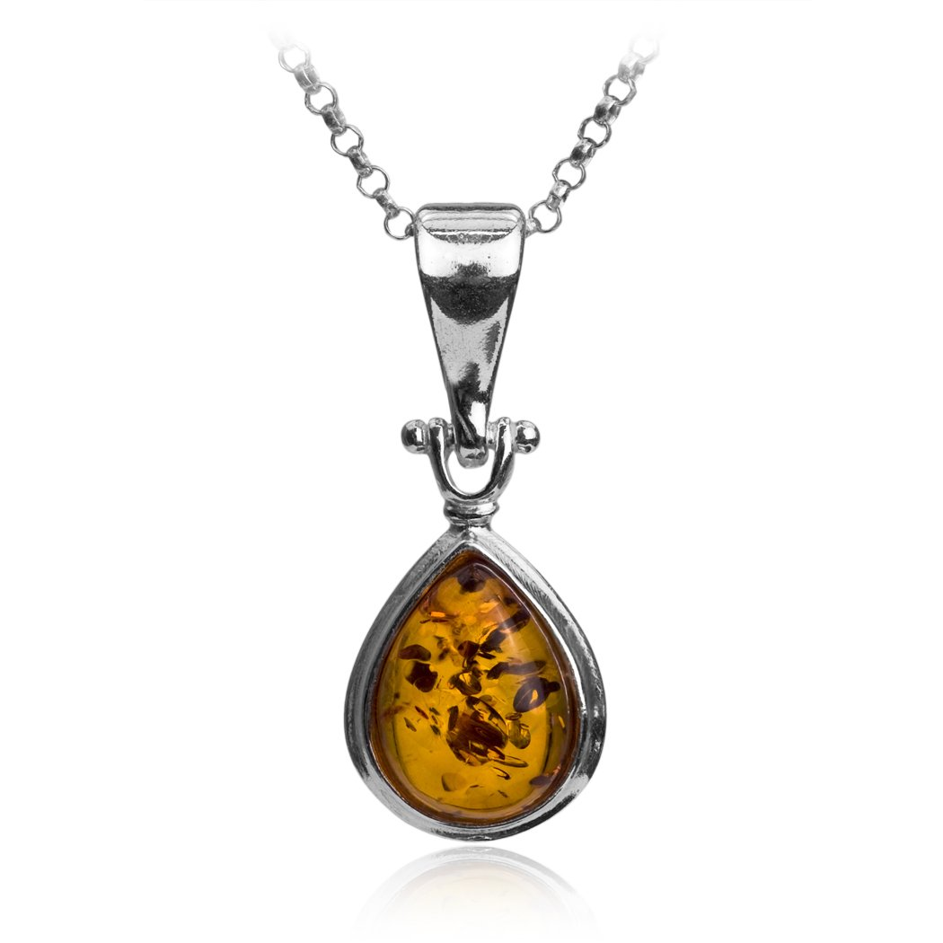 Honey Amber Sterling Silver Teardrop Pendant Necklace Chain 18