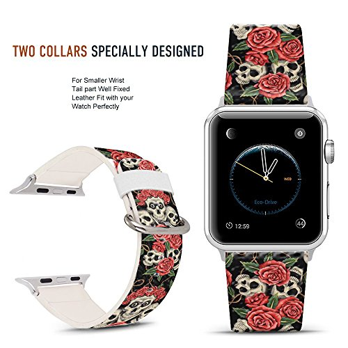 For Apple Watch Band 42mm Rose and skull pattern, DOO UC Stainless Steel Watch Band Replacement Strap for Both Apple Watch Series 1 and Series 2 Series 3-42mm (Doo Replacement)
