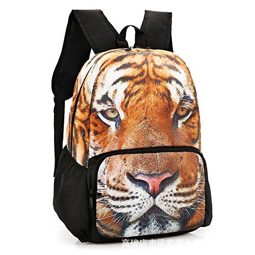 RFVBNM Mochila de las mujeres Bolsas causales de la moda Señoras de alta calidad Mochila Mini bolso de hombro femenino Bolsa de ocio femenino 3D animal mejor regalo para las niñas, Tigre