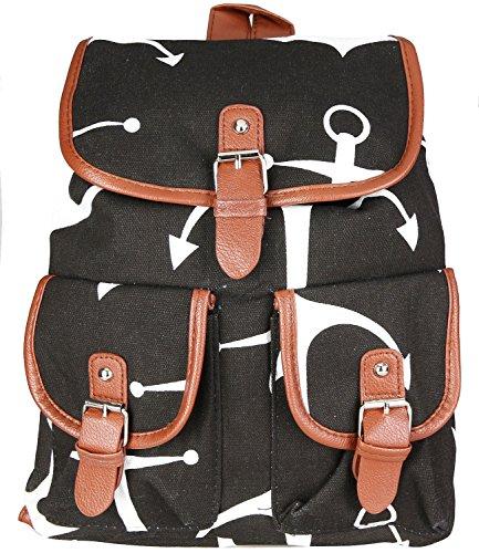 caripe Damen Herren Rucksack Freizeit Tasche Vintage Anker Sterne Elefant England (anchor-offwhite) achor-black DlnRKxl39