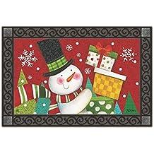 """Happy Snowman Christmas Doormat Presents Indoor Outdoor 18"""" x 30"""" MatMates"""