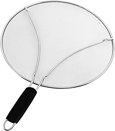 "Splatter Screen for Frying Pan – Large 13"" Stainless Steel Grease Guard Shield and Catcher – Stops Almost 100% of Hot Oil Splash – Keeps Stove and Pans Clean & Prevents Burns When Cooking by Zulay Kitchen"