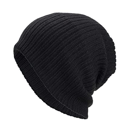 New Ladies Winter Knit Slouch Baggy Style Waves Black Beanie Hat