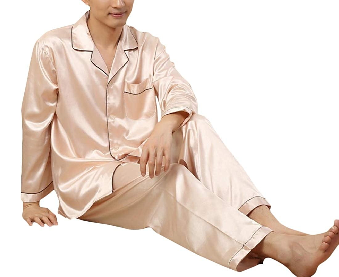Pandapang Mens Comfortable 2 Pcs Thin Silk Sleepwear Lounge Satin Pajama Set