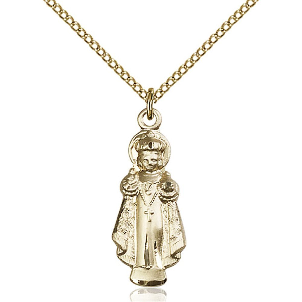 Gold Filled Infant of Prague Pendant 1 x 3/8 inches with Gold Filled Lite Curb Chain by Bonyak Jewelry Saint Medal Collection