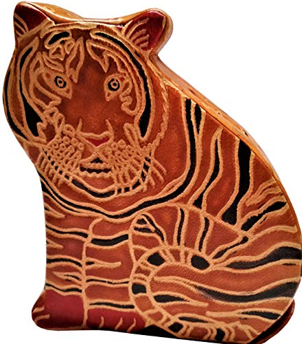 Purpledip Leather Money Bank Coin Box 'Tiger Cub': Cruelty Free Shantiniketan Leather Piggy Bank (11558)