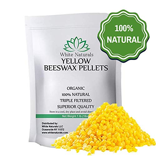 Beeswax Pellets 1 lb, Yellow, Pure, Natural, Cosmetic Grade, Bees Wax Pastilles, Triple Filtered, Great for DIY Projects, Lip Balms, Lotions, Candles by White ()