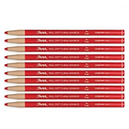 Sharpie Peel-Off China Marker 169T Red, 10 Markers Per Order (02059)