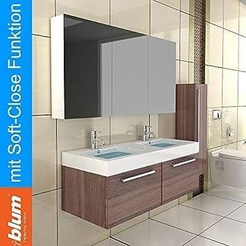 Doppel Waschbecken mit Unterschrank & Spiegelschrank / Farbe ...