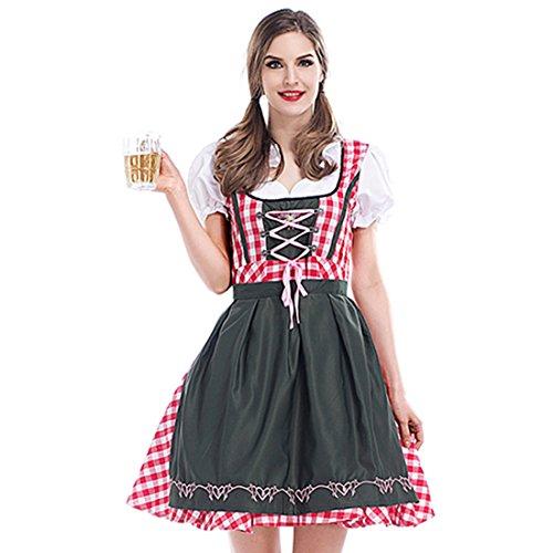 Slocyclub Women's Munich Oktoberfest Costume Scottish Plaid Dirndl Apron Dress