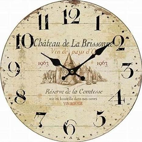 Reloj de pared para cocina - francés Chateau de la Brissonne: Amazon.es: Hogar