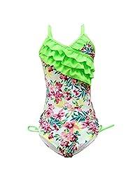 qyqkfly Girls One Piece Adjustable Bathing Suit Hawaiian Ruffle Swimsuit 2Y-14Y (FBA)