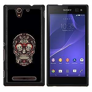 LECELL--Funda protectora / Cubierta / Piel For Sony Xperia C3 -- Cráneo Rojo Sangre Rose Floral Negro --