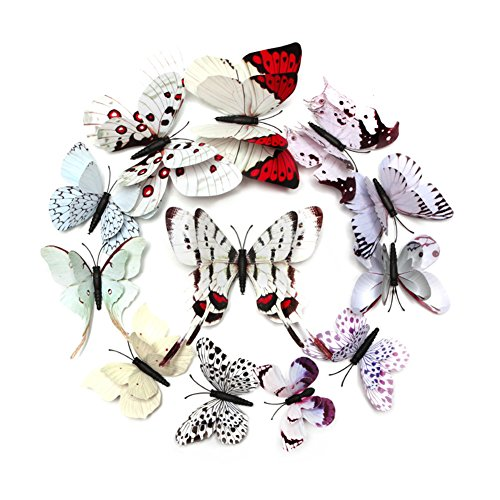 FLY SPRAY Creative 24pcs Vivid Special Man-made White Butterfly Decor Removable Wall Stickers with Adhesive Decals Nursery Decoration 3D - Shop Planet Blog Blue