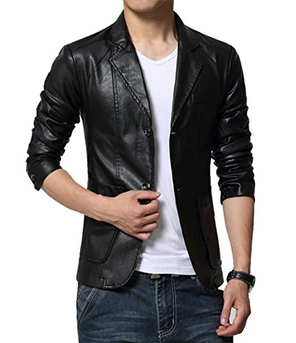 Leather Sport Jacket - MOGU Mens Two Button Faux Leather Blazer Jacket US Size 43¨Asian Lable 7XL Black