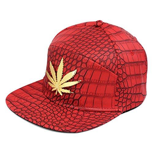 hebilla casquillo Hoja de Marihuana la de patrón la de Hombre de del béisbol Snapback MCSAYS Gorra del cocodrilo de correa plana Rojo del ala axqHPSapw
