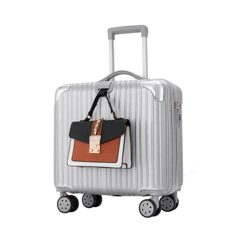 軽量で柔軟性のあるABSハードシェルトラベルトロリーキャビン荷物スーツケースを持ち運ぶ - 調節可能なハンドルを持ち運ぶ360°回転ホイール 39*24*43cm Silver gray B07MPWQJ14