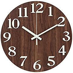 JoFomp Wooden Wall Clock, 12 Inch Large 3D Number Night Light Function, Silent Non-Ticking Vintage Rustic Country Tuscan Style Decorative Battery Operated Wall Clock for Home Kitchen Office (3D Brown)