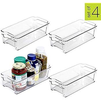 Smart Design Stackable Refrigerator Bin w/Handle - BPA Free Polyethylene - for Fridge, Freezer, Pantry Organization - Kitchen (6 x 12 Inch) [Clear] - Set of 4