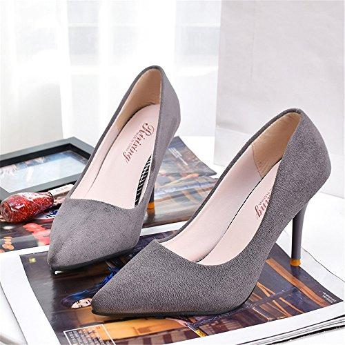 LIVY 2017 nueva gamuza señaló zapatos de tacón alto de la moda zapatos de tacón muy altos de las mujeres de los zapatos rojos de la boda Gray