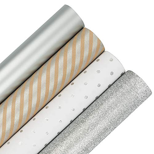 JAM PAPER Assorted Gift Wrap - Premium Holiday Wrapping Paper Set - 64 Sq Ft Total - Everything Silver - 4 Rolls/Pack
