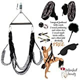 Sex Swing with steel triangle for couples and fun. This leopard print set allows for hours of passion. Comfortable - Strong - Safe. ON SALE! Many Free Bonus items.