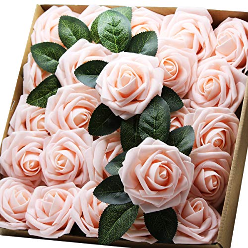 Artificial Flowers Real Touch Fake Latex Rose Flowers Home Decorations DIY for Bridal Wedding Bouquet Birthday Party Garden Floral Decor - 25 PCs from YOUR GIFT