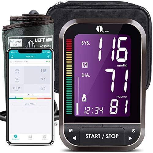 1byone Oberarm-Blutdruckmessgeräte, Wireless Digitale Oberarm-Blutdruckmessgeräte mit Arrhythmie -Erkennung und Pulsmessung, mit Einknopfbedienung und großem Display, Manschettengrößen(22-42cm)