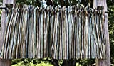 Green Tan Brown Blue Elegant Sparkle Stripes Striped Handcrafted Curtain Valance
