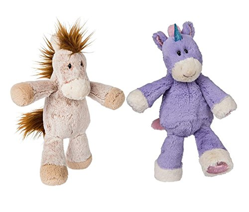 Mozlly Value Pack - Mary Meyer Purple Unicorn AND Junior Happy Horse Marshmallow Plush Dolls - 9 and 13 inches - Machine Washable - Toddler Stuffed Animals (2 Items)