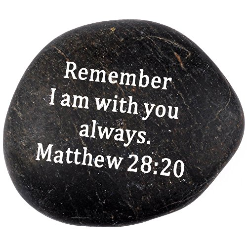 Scripture Stone (Holy Land Market Engraved Inspirational Scripture Biblical Black Stones Collection - Stone I : Matthew 28:20 :