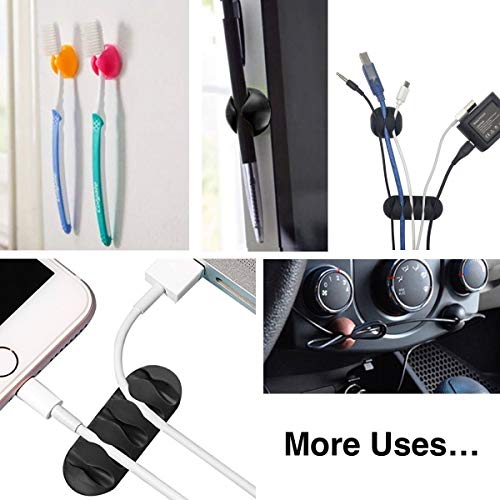 Cable Clips, OHill 16 Pack Black Cord Organizer Cable Management for Organizing Cable Cords Home and Office, Self Adhesive Cord Holders