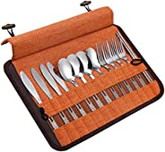 Stainless Steel 13 Piece Family Cutlery Picnic Utensil Set with Travel Case for Camping   Hiking   BBQs - Incl