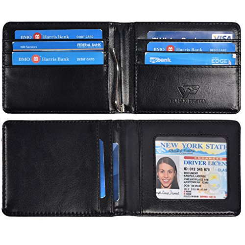 Yuhan Pretty Slim Minimalist Bifold Wallet Mens RFID Leather Money Clip Wallet