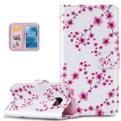 Galaxy S7 Case,Galaxy S7 Cover,ikasus Colorful Art Painted Pattern Premium PU Leather Fold Wallet Pouch Case Wallet Flip Stand Protective Case Cover for Samsung Galaxy S7,Pink Plum Blossoms